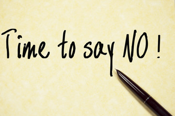 time to say no text write on paper