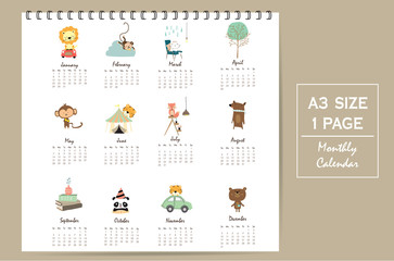 colorful cute monthly calendar 2017 with lion,tiger,panda,tree a