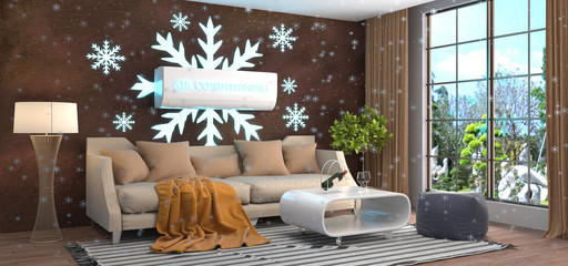 Interior with air conditioning. 3D Illustration