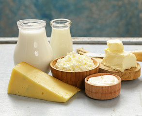 Foto op Textielframe Zuivelproducten Assorted dairy products (milk, yogurt, cottage cheese, sour cream) rustic still life