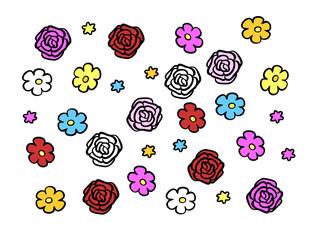 Viele Blüten und Blumen als Hintergrund
