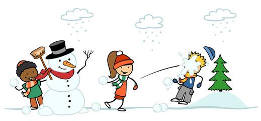 Kinder machen Schneeballschlacht im Winter