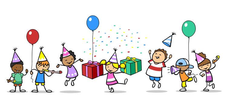 Kinder feiern Geburtstag mit Geschenk und Ballons