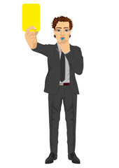 businessman referee showing yellow card warning blowing whistle
