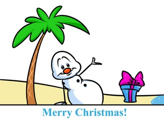 Christmas snowman character beach vacation palm tree cartoon illustration isolated image