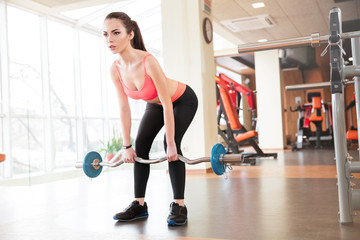 Beautiful young sportswoman doing exercises with barbell in gym