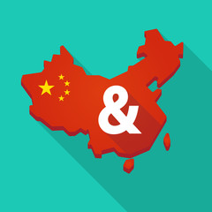 Long shadow China map with an ampersand