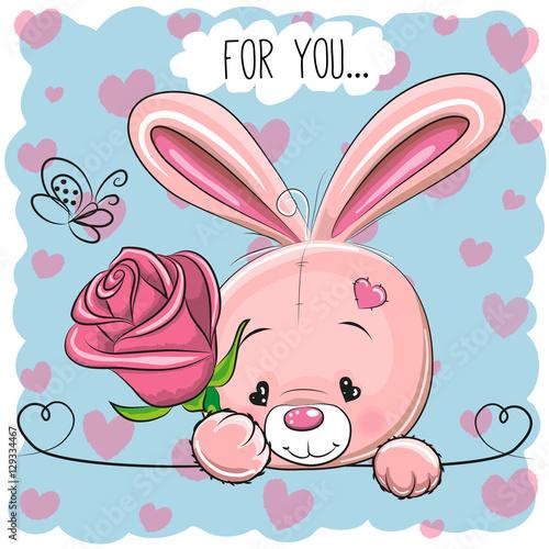 Quot cartoon rabbit with flower immagini e vettoriali royalty