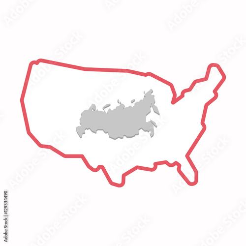 Isolated map of USA with a map of Russia\