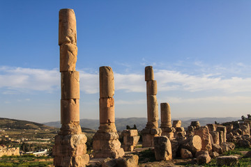 Columns from Roman times. Ruins of Jerash.