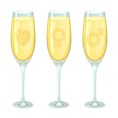 Бокалы шампанского с пузырьками, изолированные на белом фоне. Пузырьки в шампанском образуют силуэт сердечка и гендерные символы.