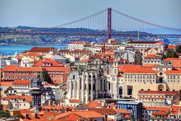 Panoramic view of the center of Lisbon.