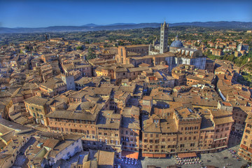 Panoramic view of center of Siena. Italy.