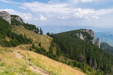 Amazing panorama Ceahlau massif, Eastern Carpathians Mountains, Moldova, Romania