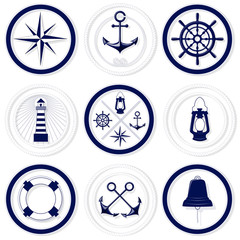 Nautical blue and white round badges with rope frames