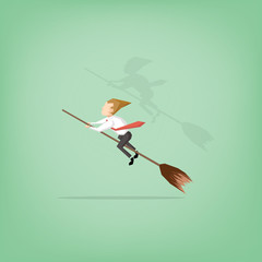 Businessman ride broom