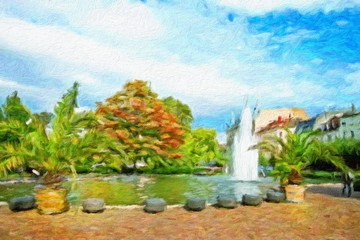 Historic center of Baden-Baden. Germany. Oil painting effect.