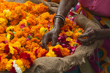 bright flowers for the ceremony ritual Hindu religion