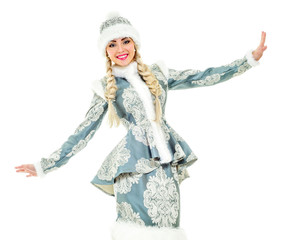 Lovely smiling Snow Maiden. Woman dressed in traditional russian