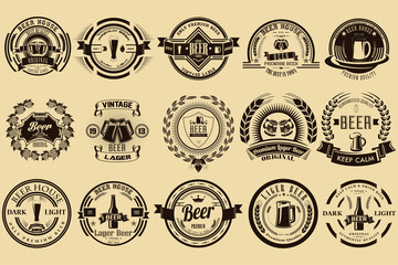 Set of labels for beer and alcoholic beverages. Vintage design. Badges for the logo and design.