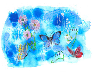 Amazing watercolor background with butterfly.  art isolated on white