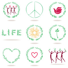 Set of green vector symbols of life, nature, peace, love, health.