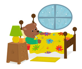 Sick Teddy Bear - Cute bear is laying in his bed with a thermometer in his mouth. Eps10