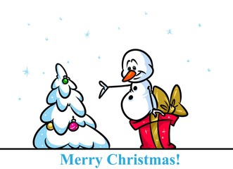 Christmas snowman character tree gift cartoon illustration isolated image
