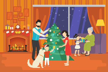Merry christmas concept illustration of happy family with kids decorating xmas tree and giving gifts from each other at cozy home interior. Happy mother, father and children going to celebrate indoor