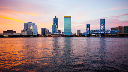 Jacksonville, Florida City Skyline at Sunset (logos blurred)