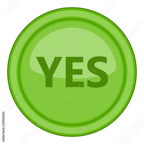 Instant Yes Button : Quot yes green circle button icon cartoon illustration of