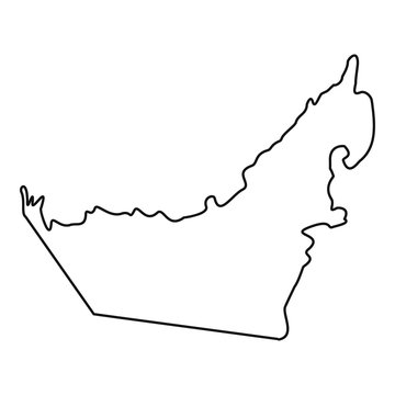 Map of United Arab Emirates icon. Outline illustration of map of United Arab Emirates vector icon for web