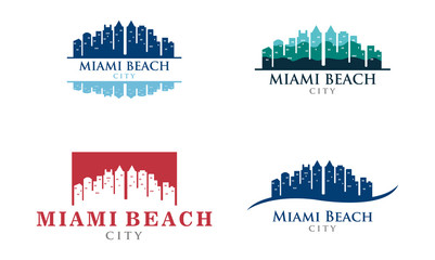 Visit Miami Beach City Skyline Landscaping Logo Set