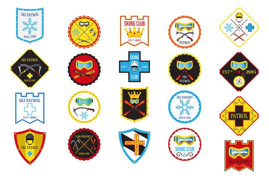 Colorful set of ski logos, ski patrol, rental, skiing club.