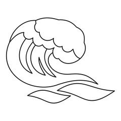 Ocean or sea wave icon. Outline illustration of ocean or sea wave vector icon for web