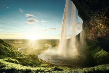 Deurstickers Watervallen Seljalandfoss waterfall in summer time, Iceland