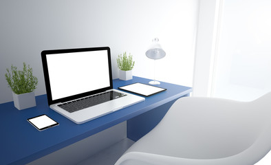 Wall Mural - blue responsive studio with white screen devices