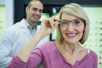 Female customer wearing spectacles in store