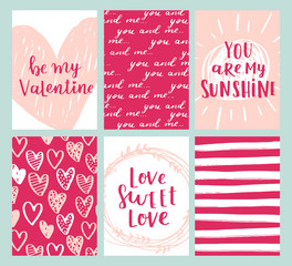 Set of greeting cards for Valentine's Day. Vector collection with brush lettering and hand written elements. Rose, pink and white color labels for your design and invitation.