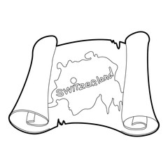 Switzerland map icon. Outline illustration of switzerland map vector icon for web