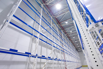 Wall Mural - Large cold distribution warehouse with high empty shelves