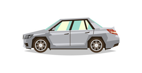 Gray car sedan. Side view. Transport for travel. Gas engine. Alloy wheels
