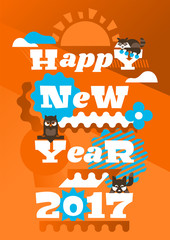 Greeting Card Happy New Year. Typographical printing. Animals and letters. Raccoon, sunrise, owl, garland, berries. Bells, ribbon. Label, isolated objects on background. Vector illustration