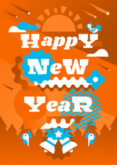 Greeting card happy new year. Typographical printing. Year of the rooster. Sunrise, clouds, stars. Animals and letters. Bells, ribbon. Label, isolated objects on background. Vector illustration