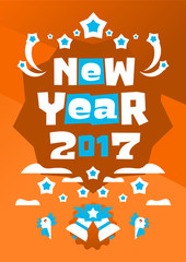 Greeting Card Happy New Year. Typographical printing. Raccoon welcomes sunrise. Fireworks, celebration, joy. Bells, clouds. Vector illustration. Orange background