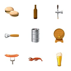 Alcoholic beverage icons set. Cartoon illustration of 9 alcoholic beverage vector icons for web