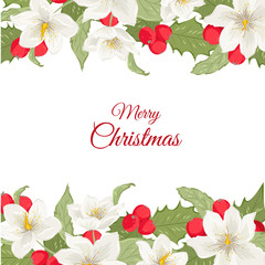 Hellebore Christmas rose flower and holly berry mistletoe garland bouquet horizontal border frame template. Merry Christmas card text placeholder. Red, white, green. Vector design illustration.