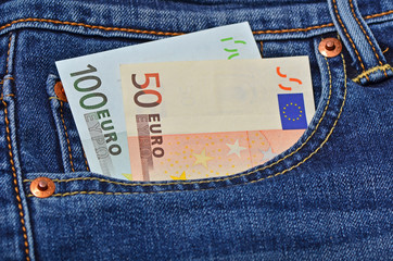 euro money in jeans pocket