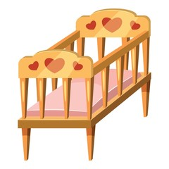 Baby bed icon. Cartoon illustration of baby bed vector icons for web