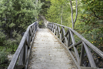 Vanishing old wooden footbridge with rails over river. Prionia, Mount Olympus, Pieria, Greece.